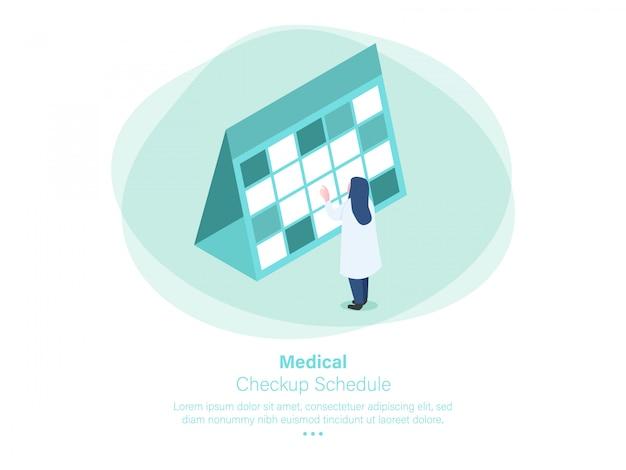 Medical checkup schedule isometric design Premium Vector