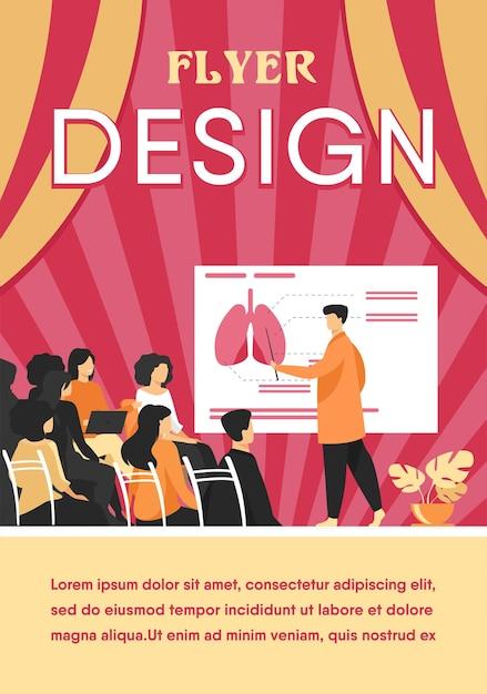 학생들을 가르치는 의과 대학 교수. 회의에서 청중에게 인간의 폐 인포 그래픽을 제시하는 의사. 플라이어 템플릿 무료 벡터