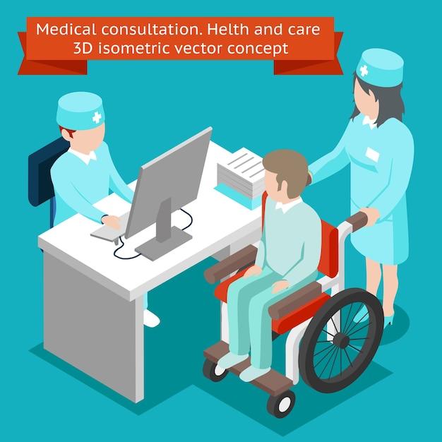 의료 상담. 건강 관리 3d 아이소 메트릭 개념. 의료 및 환자, 병원 전문가, 클리닉 무료 벡터