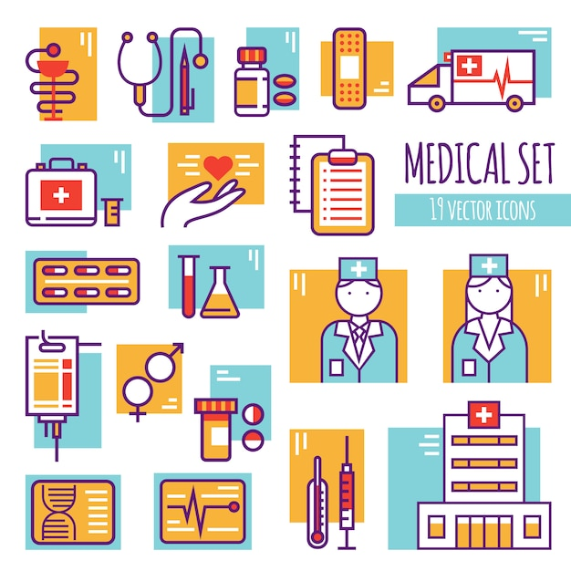 Medical decorative line icons set Free Vector
