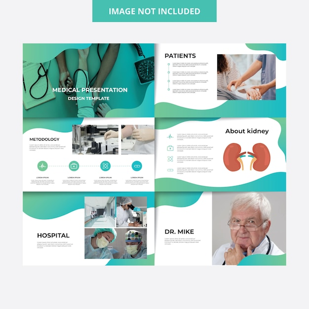 Medical design hospital presentation template Premium Vector