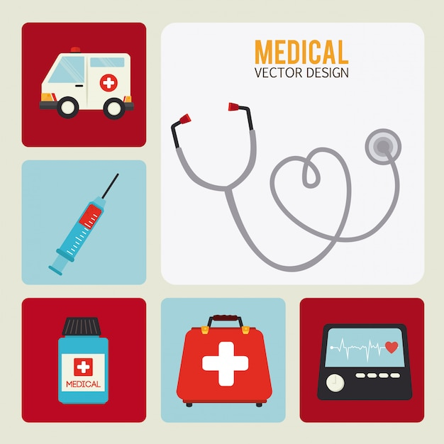 Medical design over white background vector illustration Premium Vector