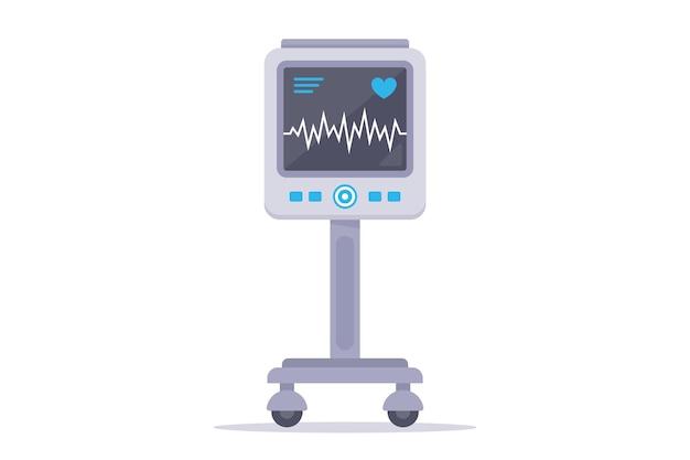 Медицинский прибор для наблюдения за сердцем пациента. плоский рисунок, изолированные на белом фоне. Premium векторы
