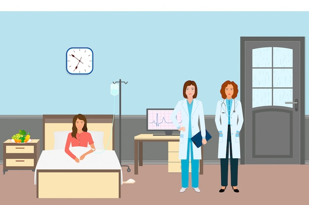 Medical doctor and nurse with a female patient. medicine workers standing near illness woman in hospital ward. Premium Vector