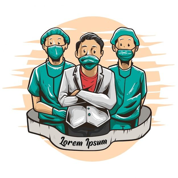 Иллюстрация врачей и медсестер Premium векторы