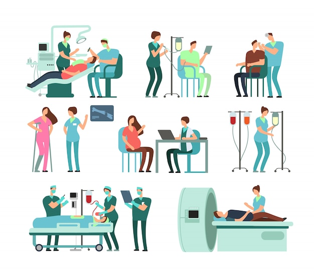 Medical doctors and patients in clinic. vector people and medicine isolated Premium Vector