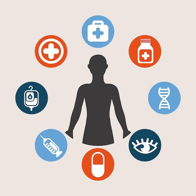 Медицинский дизайн на белом фоне векторные иллюстрации Premium векторы