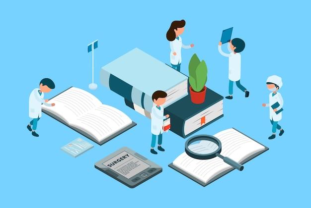 Медицинское образование. медицинские студенты, хирургия изометрической концепции. книги, врачи, медсестра, персонажи. иллюстрация образование изометрические медицина, уход и лечение Premium векторы