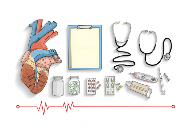 Medical equipment collection Premium Vector