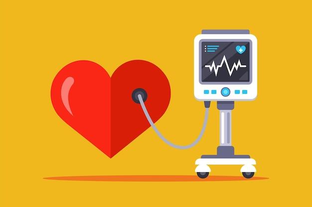심박수 측정을위한 의료 장비. 평면 그림 프리미엄 벡터