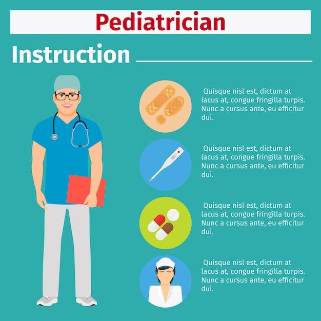 Medical equipment instruction for pediatrician Premium Vector
