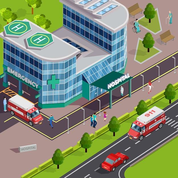Изометрическая композиция медицинского оборудования с видом на современное здание больницы с машинами скорой помощи и вертолетными площадками Бесплатные векторы