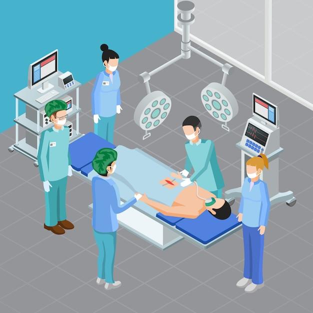 Composizione isometrica nell'attrezzatura medica con la vista della stanza della chirurgia con l'apparato e la gente durante l'illustrazione chirurgica di vettore di attacco Vettore gratuito