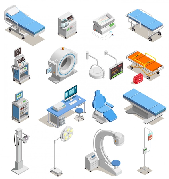 Медицинское оборудование изометрические иконы Бесплатные векторы