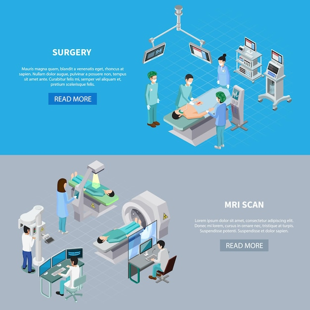 Medical equipment isometric set of two horizontal banners with read more button editable text and images Free Vector