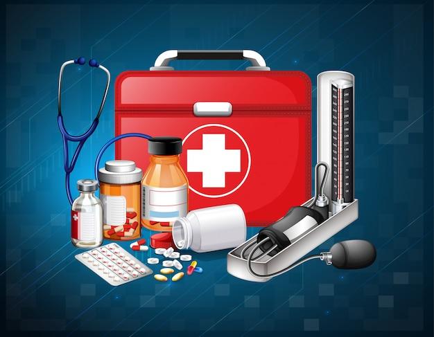 Медицинское оборудование и лекарства на синем фоне Бесплатные векторы