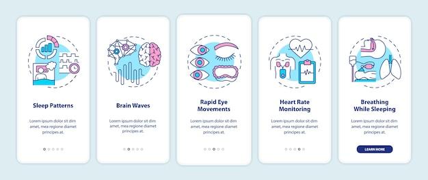 コンセプトを備えたモバイルアプリページ画面のオンボーディング睡眠パターンの健康診断 Premiumベクター