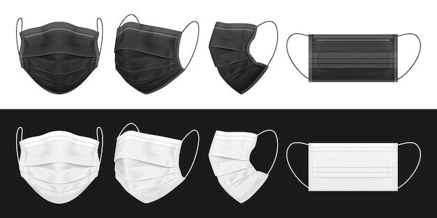 Medical face mask, black and white Premium Vector