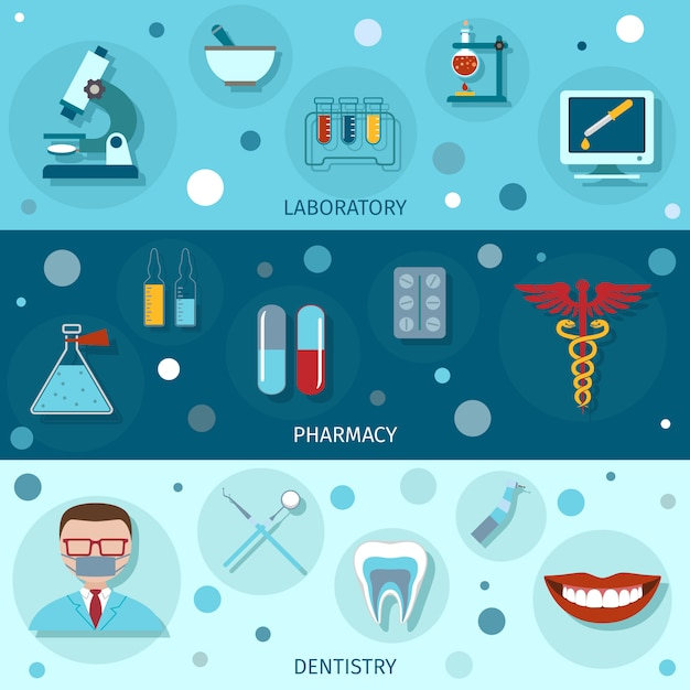 Medical flat banners Free Vector