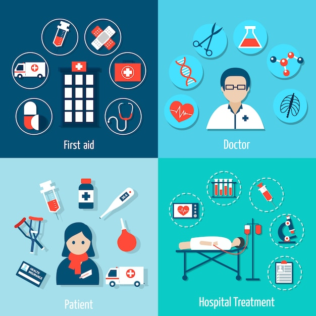 Medical flat elements composition and avatar set Free Vector