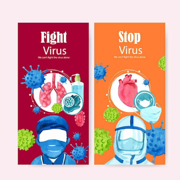 Medical flyer design with doctor, mask, lungs, creative bright watercolor illustration. Free Vector