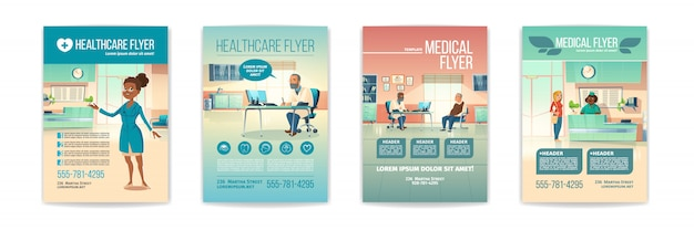 Medical flyers set. health care service posters with people in hospital, clinic interior with receptionist on reception desk and senior patient visit doctor appointment. cartoon illustration Free Vector