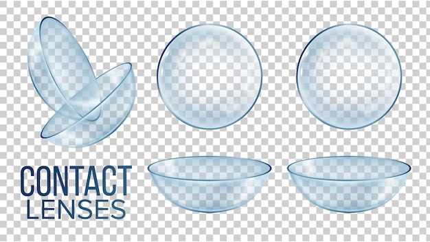 Medical glass contact optical lenses Premium Vector