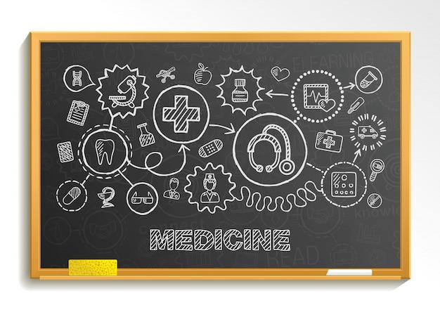 医療の手描きは、教育委員会に設定されたアイコンを統合します。インフォグラフィックイラストをスケッチします。接続落書きピクトグラム、ヘルスケア、医師、医学、科学、緊急、薬局のインタラクティブなコンセプト Premiumベクター