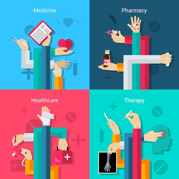 Medical hands flat set Free Vector