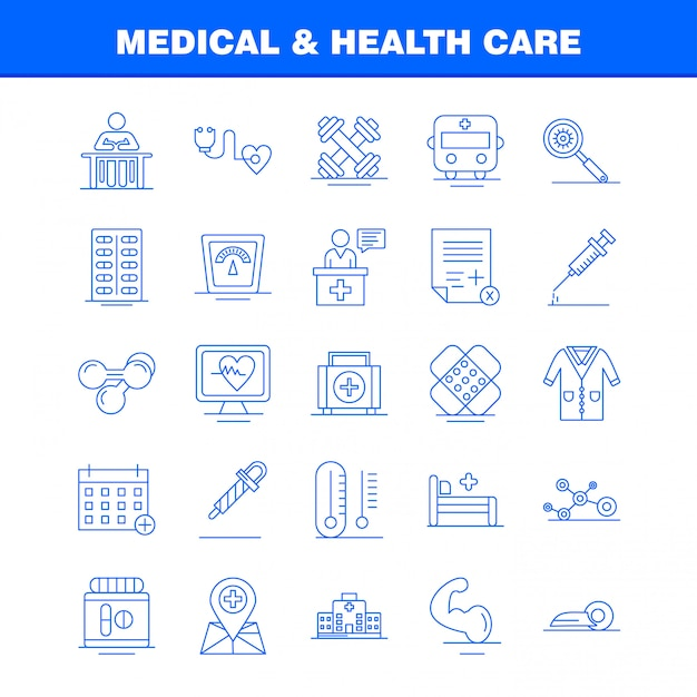 Insieme dell'icona di linea di assistenza sanitaria e medica Vettore gratuito