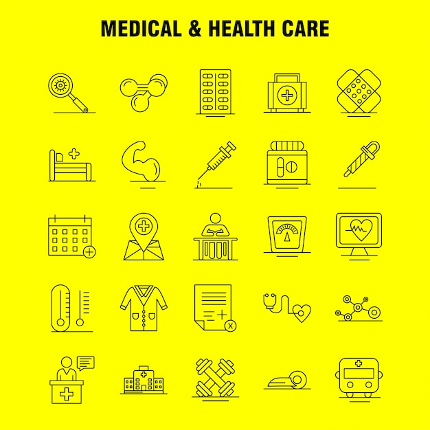 Medical and health care line icon set Premium Vector