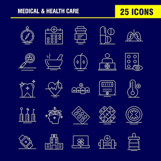 Medical and health care line icon Premium Vector