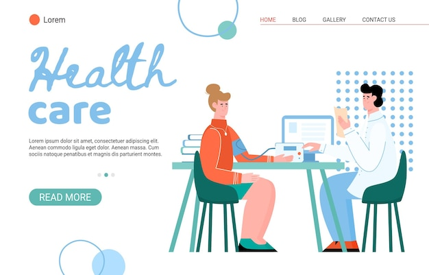Medical health care professional assistance website with cartoon characters of doctor and patient Premium Vector