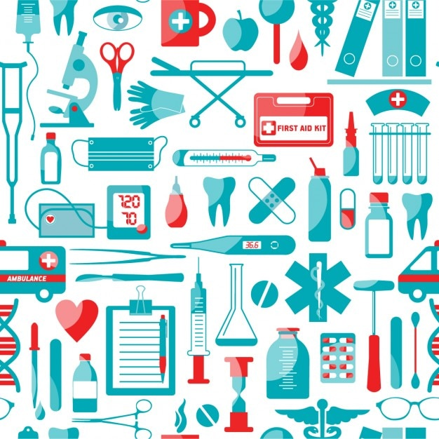 Medical and health elements pattern Free Vector