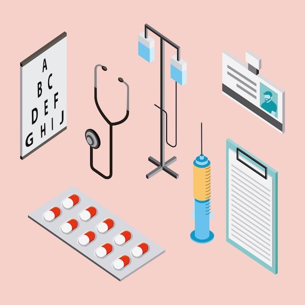 Medical health elements Free Vector