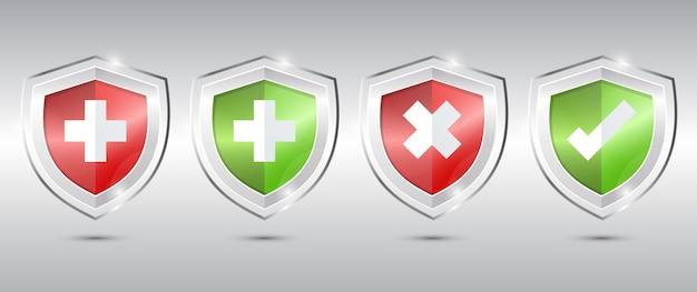 医療健康保護シールドクロスとチェック。 Premiumベクター