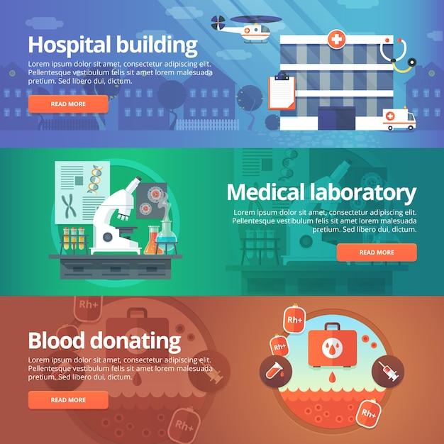 Medical and health s set. hospital laboratory. blood donation. modern   illustrations. horizontal banners. Premium Vector