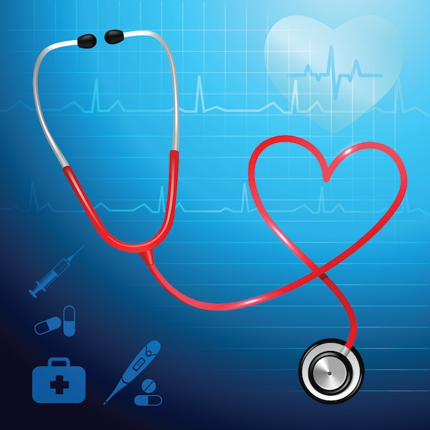 Medical health service stethoscope and heart symbol vector illustration Free Vector