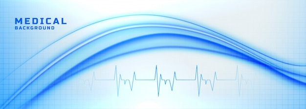 Medical and healthcare banner with heartbeat lines Free Vector