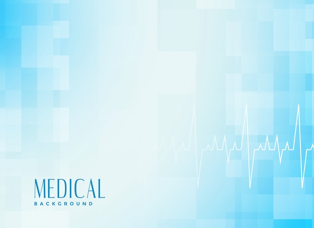 Medical healthcare blue background with cardiograph Free Vector