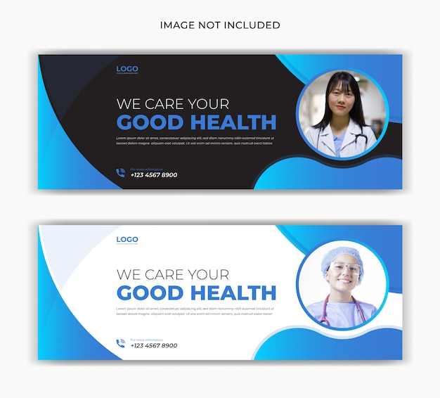 医療ヘルスケアセンターのソーシャルメディアの投稿facebookカバーページタイムラインweb広告バナーデザイン Premiumベクター