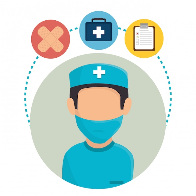 Medical healthcare character and icons Free Vector