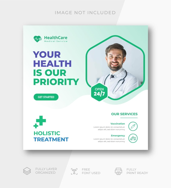 Medical healthcare flyer social media post web banner template Premium Vector