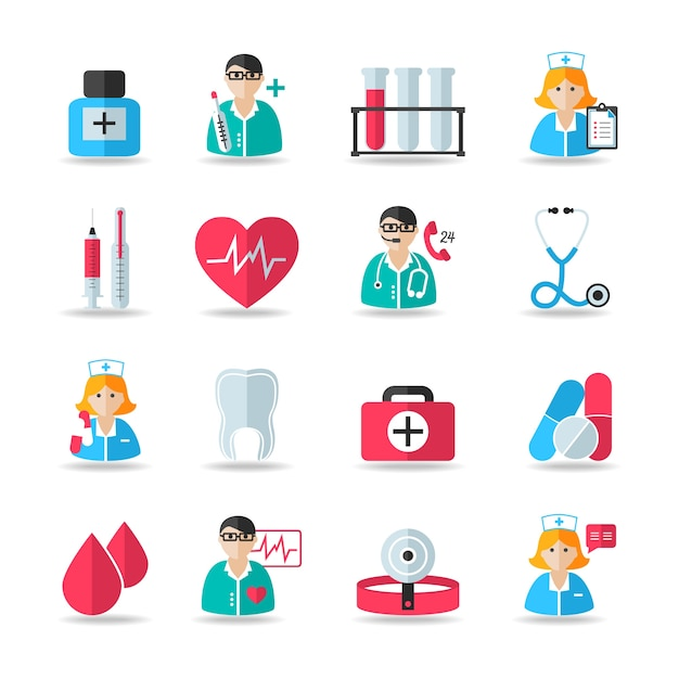 Medical healthcare icons set of heart tooth pill syringe isolated vector and doctor avatars illustration Free Vector