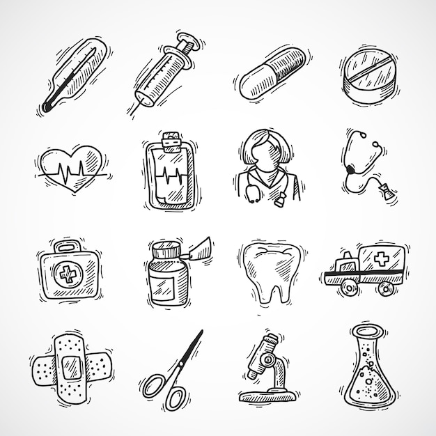 Medical and healthcare icons Free Vector