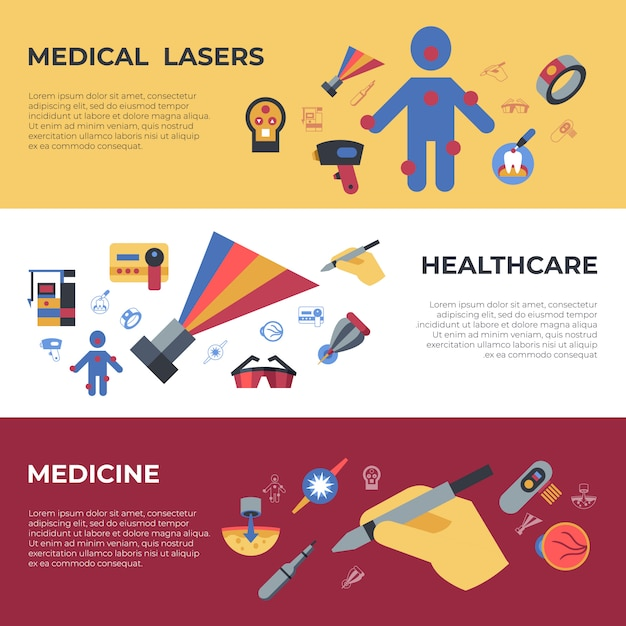 Medical healthcare lasers icons Premium Vector