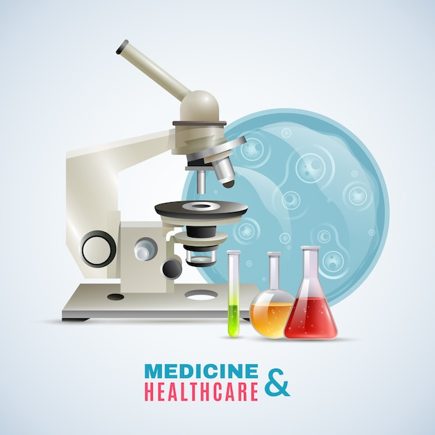 Medical healthcare research flat composition poster Free Vector