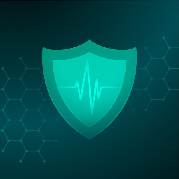 Medical healthcare shield with heartbeat line concept Free Vector