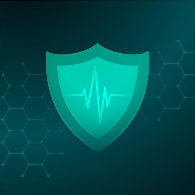 Scudo medico sanitario con la linea del battito cardiaco concetto Vettore gratuito