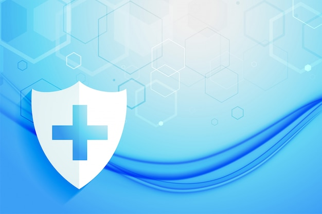 Medical healthcare system protection shield background design Free Vector